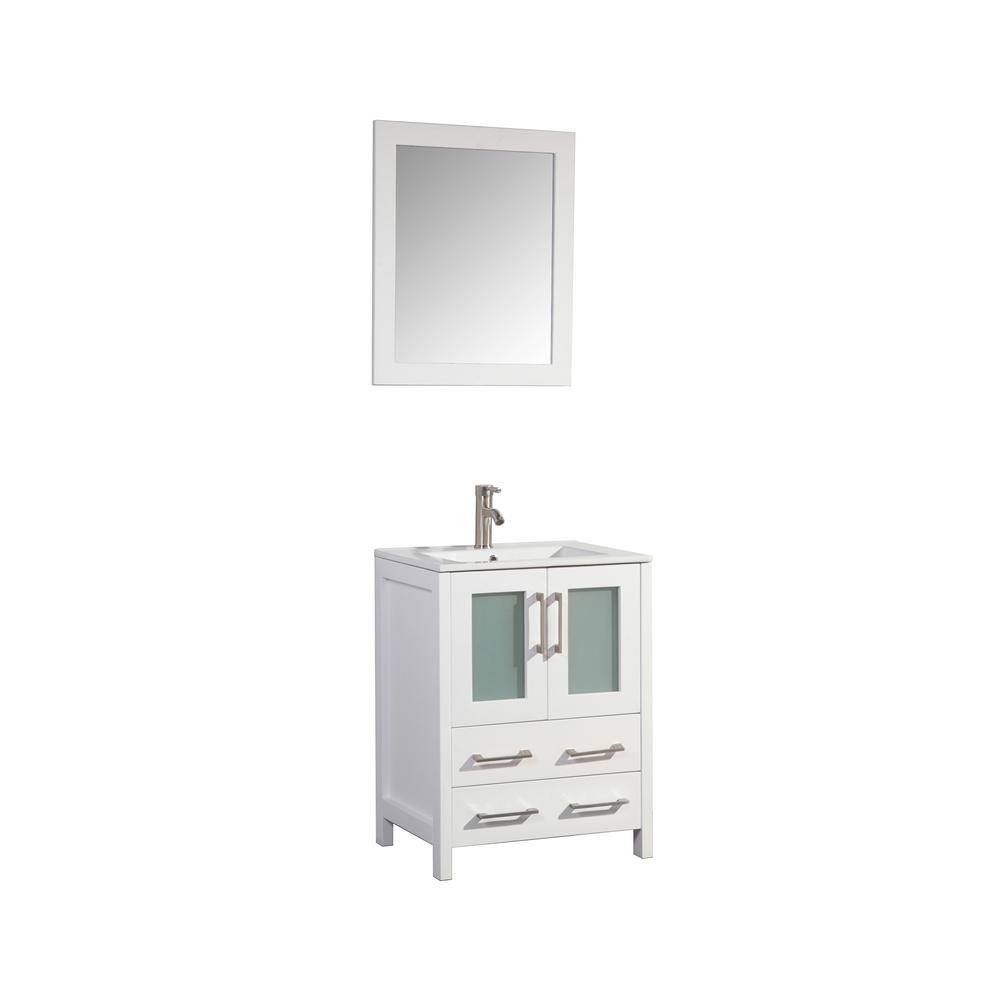Vanity Art Brescia 24 in. W x 18 in. D x 36 in. H Bath Vanity in White with Vanity Top in White with White Basin and Mirror was $599.0 now $456.75 (24.0% off)