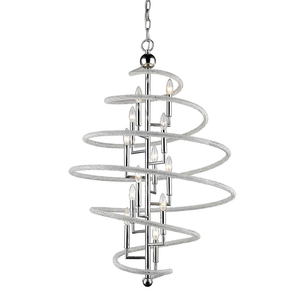 Filament Design Hartley 12-Light Chrome Pendant with Clear and Chrome Crystal and Steel Shade