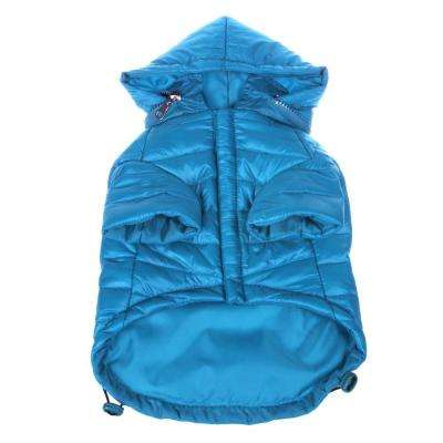 Medium Ocean Blue Lightweight Adjustable Sporty Avalanche Dog Coat with Removable Pop Out Collared Hood