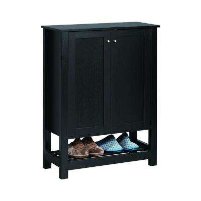 42 in. H x 31.25 in. W Black Contemporary Shoe Cabinet with Rack Shelf