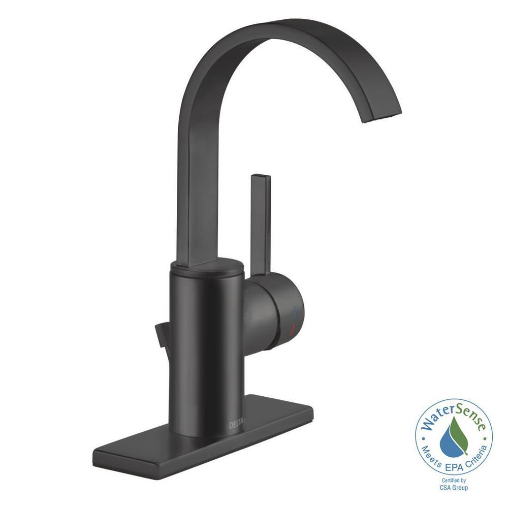Delta Mandolin 4 in. Centerset Single-Handle Bathroom Faucet in Matte Black