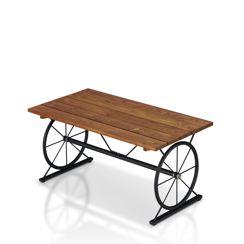Krauss 36 in. Brown/Black Medium Rectangle Wood Coffee Table with Wheels