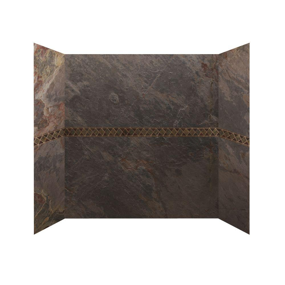 SoterraSlate 30 in x 60 in. x 64 in. 4 Panel Tub Surround with Design Strips in Multi-Color-DISCONTINUED