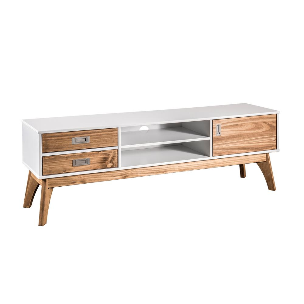 white wood tv stand Manhattan Comfort Jackie 59.05 in. White and Natural Wood TV Stand  white wood tv stand