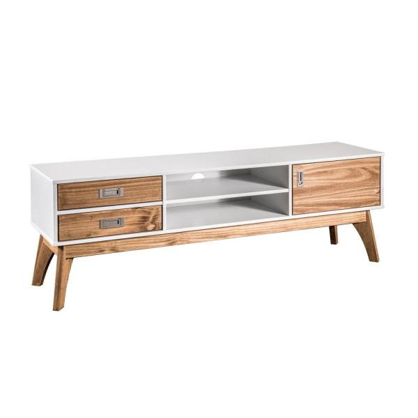 Manhattan Comfort Jackie 59.05 in. White and Natural Wood TV Stand