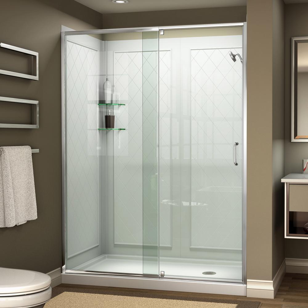 Flex 60 in. x 76.75 in. Semi-Frameless Pivot Shower Door in