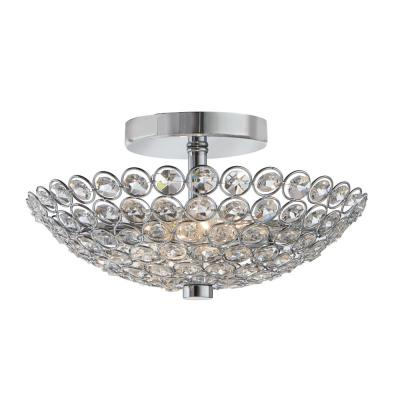 Barclay 2-Light Chrome and Crystal Flush Mount
