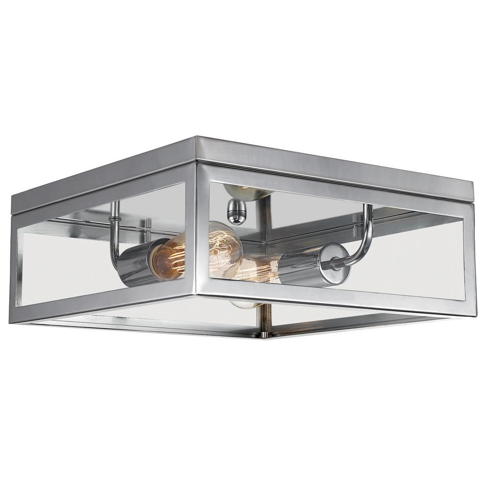 Globe Electric Memphis 2-Light Chrome Flush Mount Ceiling Light