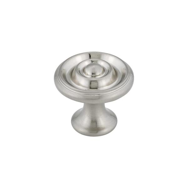 1-11/16 in. (43 mm) Brushed Nickel Traditional Metal Cabinet Knob