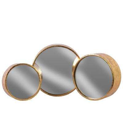 Round Rose Gold Antique Tarnished Wall Mirror (Set of 3)