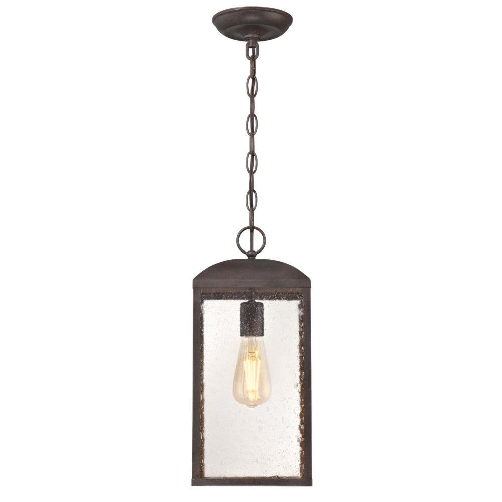 Westinghouse Piazza Medium 1 Light Victorian Bronze Outdoor Pendant With Clear Seeded Gl