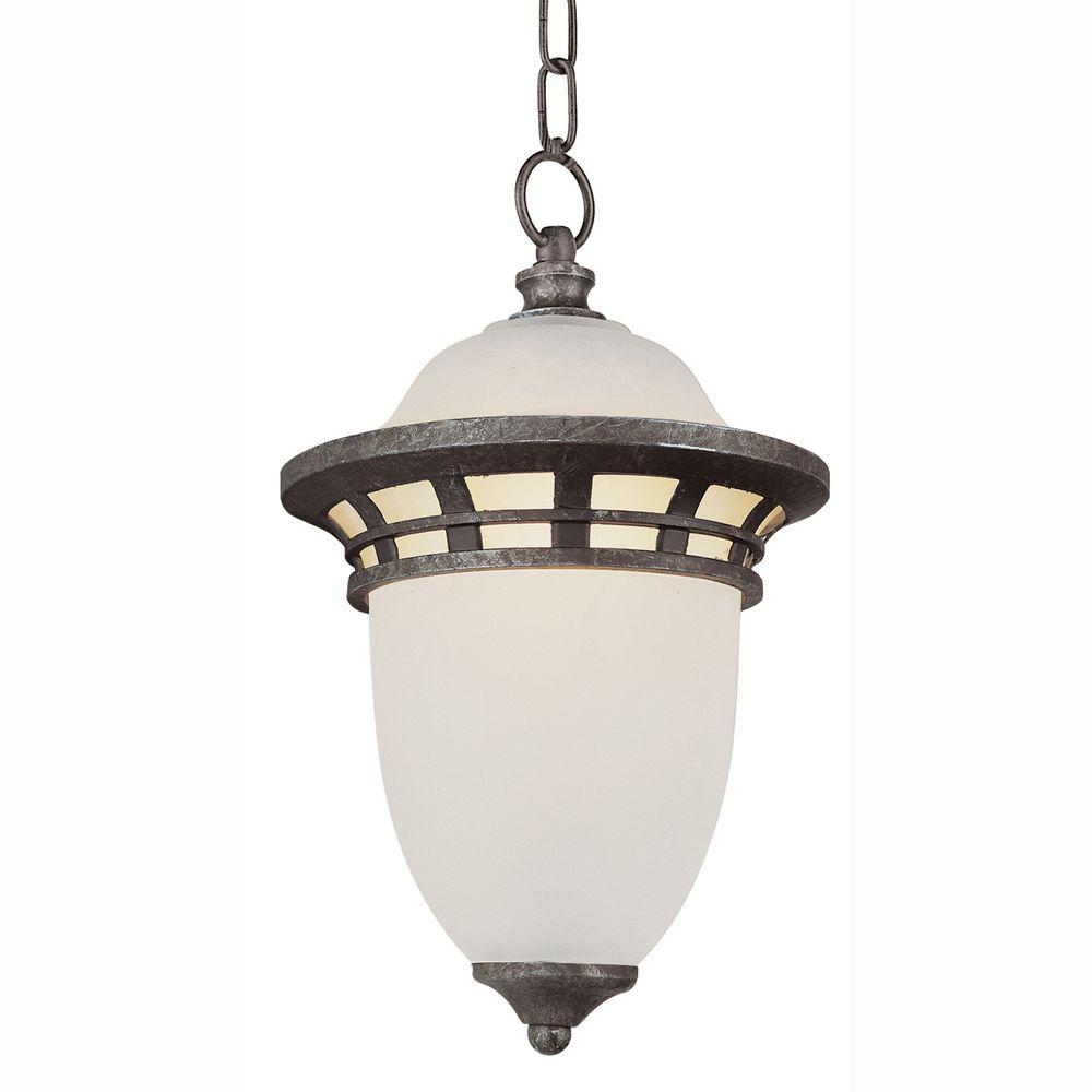 Imperial 1-Light Outdoor Hanging Antique Pewter Lantern with Frosted Glass