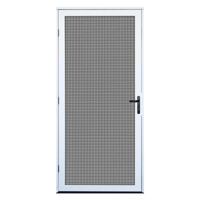 36 in. x 80 in. White Recessed Mount Ultimate Security Screen Door with Meshtec Screen