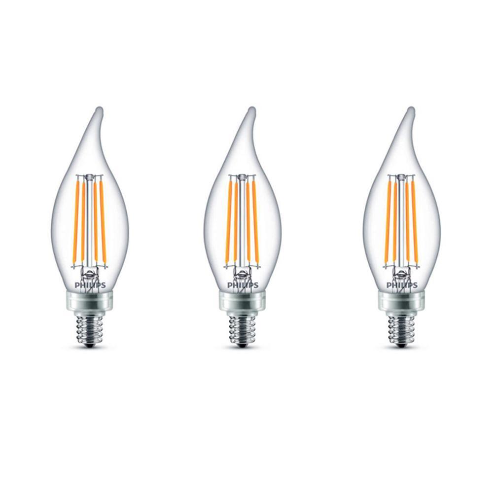 40-Watt Equivalent B11 Dimmable Edison Glass LED Candle Light Bulb Bent Tip Candelabra Base Daylight (5000K) (3-Pack)