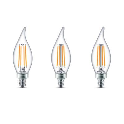 40-Watt Equivalent B11 Dimmable Edison LED Candle Light Bulb Glass Bent Tip Candelabra Base Daylight (5000K) (3-Pack)