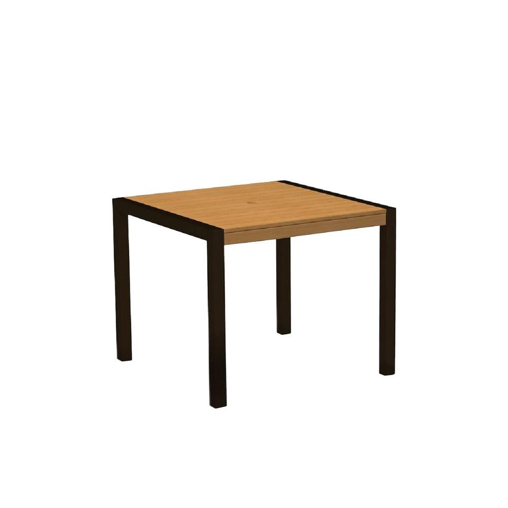 POLYWOOD MOD 36 in. Textured Bronze/Plastique Plastic Outdoor Patio Dining Table