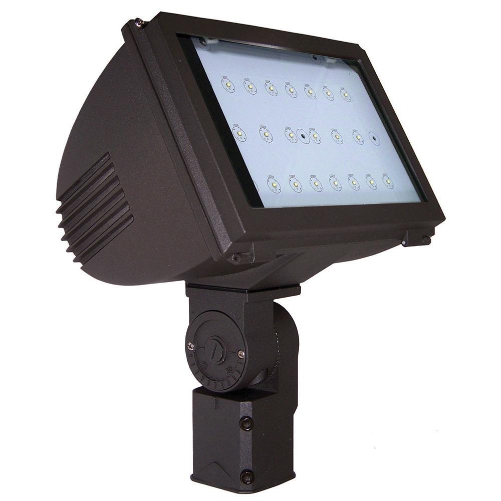 40-Watt Bronze Integrated LED Outdoor Adjustable Round Back Flood Light