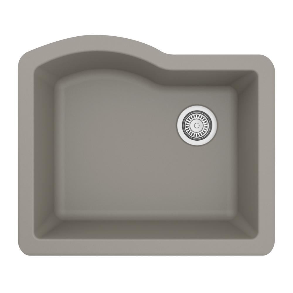 Karran Undermount Quartz Composite 24 in. Single Bowl Kitchen Sink in Concrete