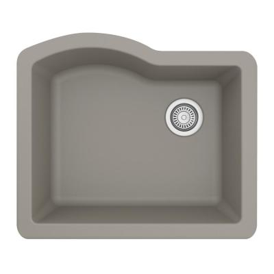 Undermount Quartz Composite 24 in. Single Bowl Kitchen Sink in Concrete