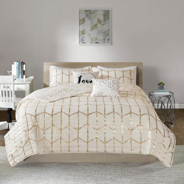 Intelligent Design Khloe 5-Piece Ivory/Gold Full/Queen Geometric Coverlet Set