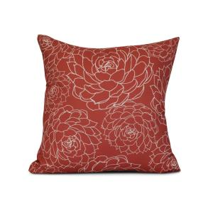 16 inch Olena Floral Print Pillow in Orange by