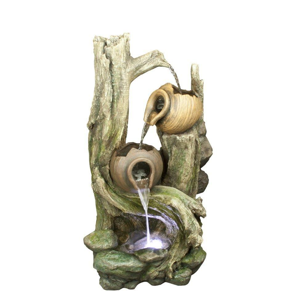 39 in. Tiered Jars Rainforest Tree Trunk Fountain