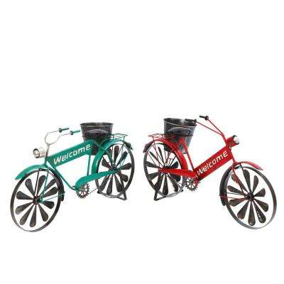 22 in. x 12 in. Multi-Color Metal Bicycle Planters with Wind Spinner Spokes (2-Set)