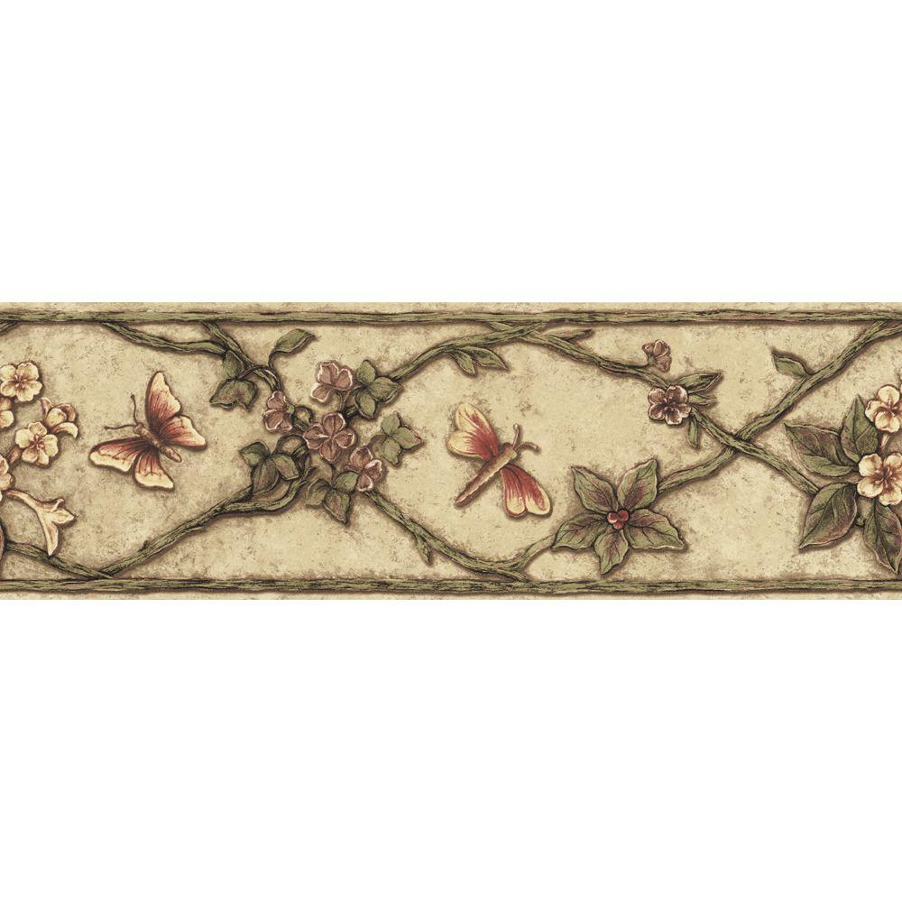 The Wallpaper Company 6.83 in. x 15 ft. Earth Tone Garden Ornament Border