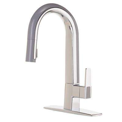 Matisse Single-Handle Pull-Down Sprayer Kitchen Faucet in Chrome and Gray