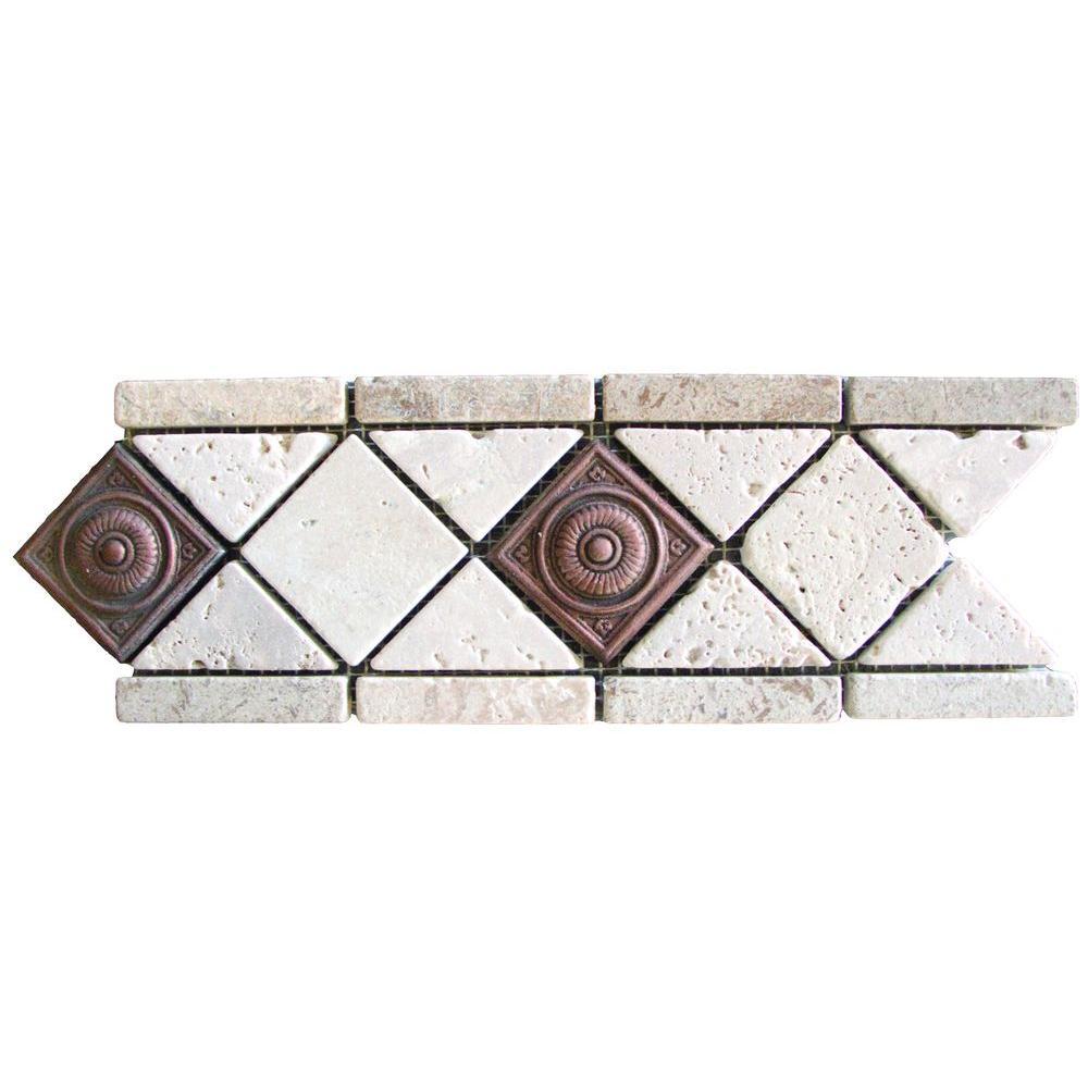 MS International Noche/Chiaro Copper Scudo 4 in. x 12 in. Travertine/Metal Listello Floor and Wall Tile