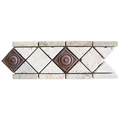 Noche Chiaro Copper Scudo Listello 4 In X 12 Travertine Metal Floor And
