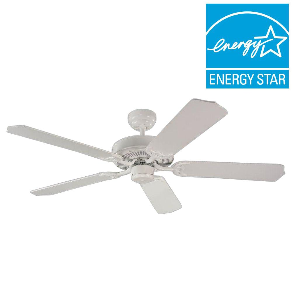 Sea Gull Lighting Quality Max Collection 52 In White 5 Blade Ceiling Fan