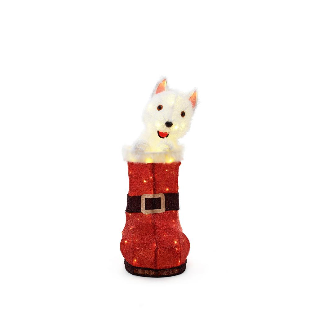 Home Accents Holiday 32 In 80 Light Led Animated Tinsel Red Boot And Dog