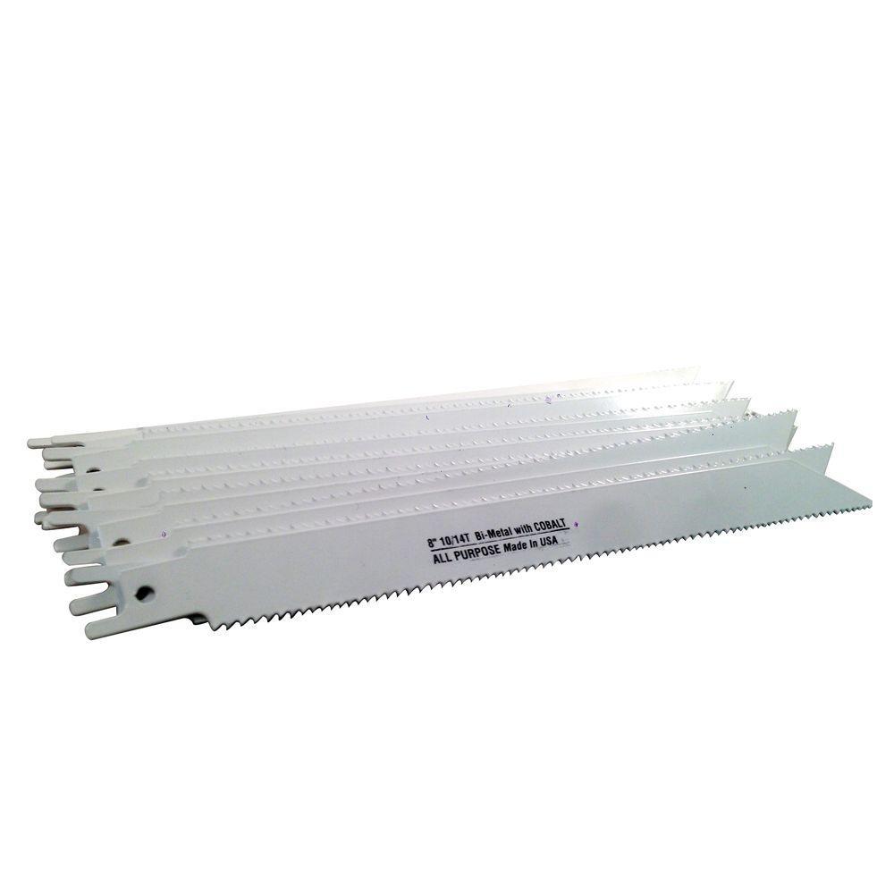 8 in. x 3/4 in. x 0.035 in. 10/14 Teeth per in. All-Purpose Cutting Bi-Metal Reciprocating Saw Blade (50-Pack)