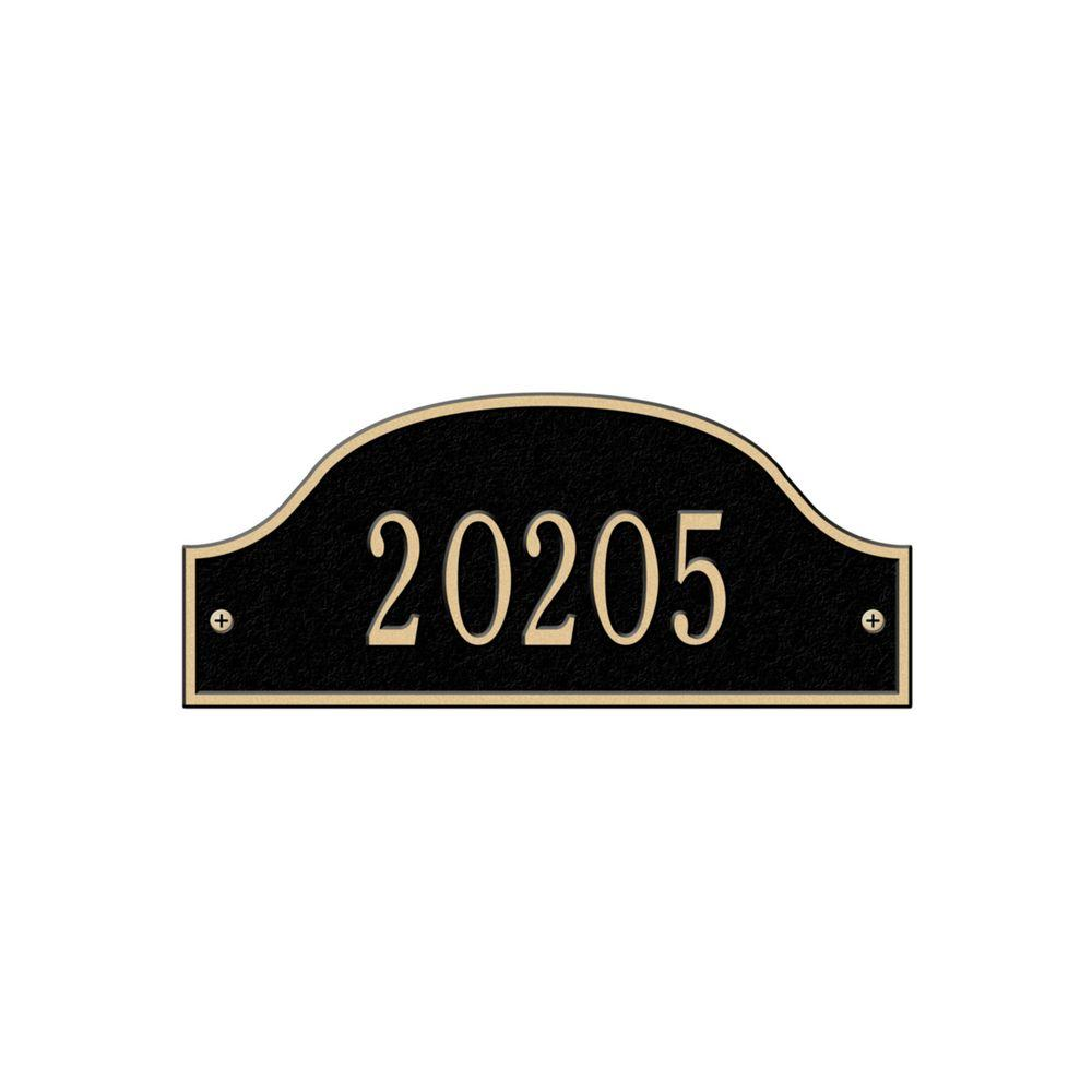 Whitehall Products Admiral Petite Arch Black/Gold Wall One Line Address Plaque