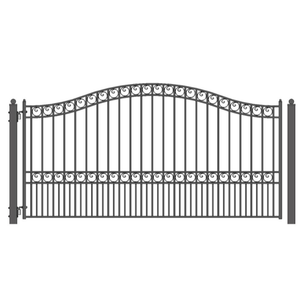 Paris Style 12 ft. x 6 ft. Black Steel Single Swing Driveway Fence Gate