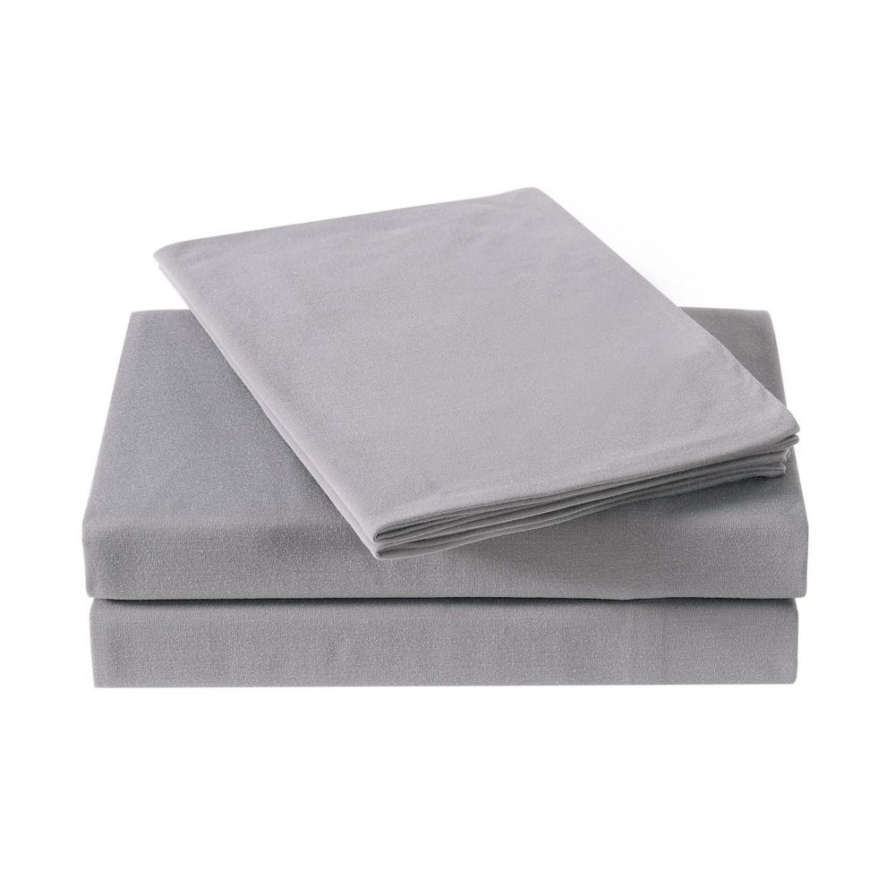 6c136158ec38 Anytime Solid Jersey Grey Twin Sheet Set-SS2399GYTW-4700 - The Home Depot
