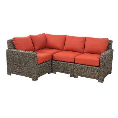 Laguna Point 5-Piece Brown All-Weather Wicker Patio Sectional Set with Quarry Red Cushions- Chairs (Box 2 of 2)