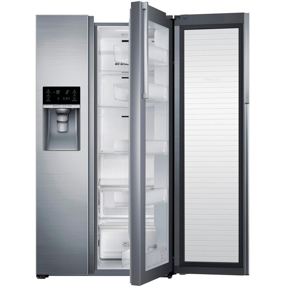 Samsung 21.5 cu. ft. Side by Side Refrigerator in Stainless Steel, Counter Depth with Food Showcase Design