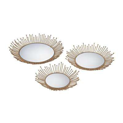 Loop 17 in. x 17 in. and 15 in. x 15 in. Mirror and Gold Leaf Decorative Trays (Set of 2)