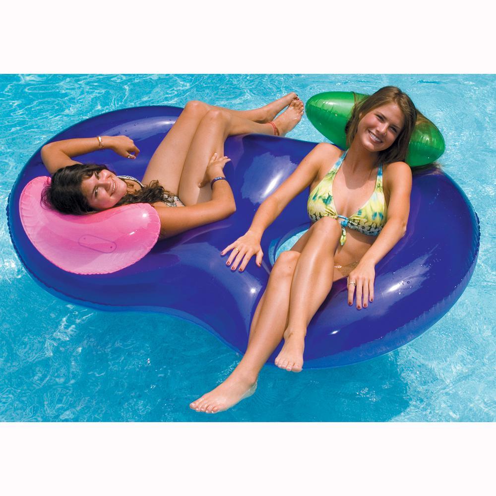 74 in. x 46 in. Purple Side By Side Double Ring Pool Float