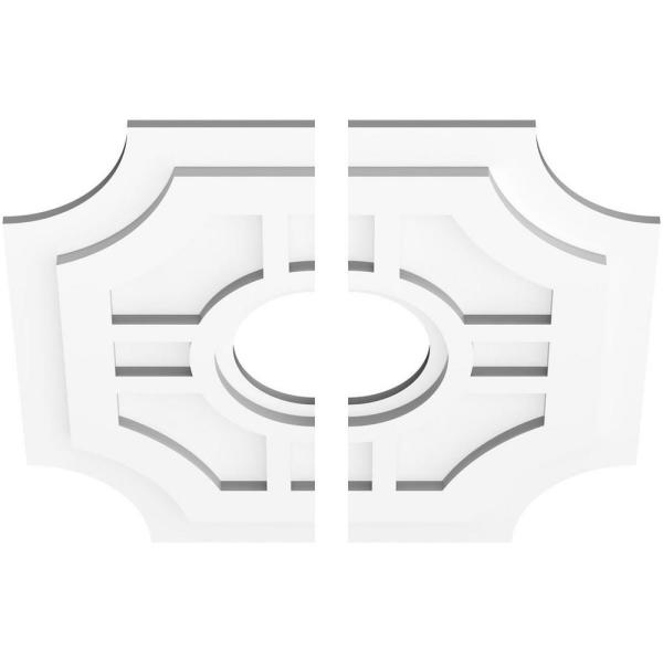 Ekena Millwork 1 In P X 7 1 4 In C X 22 In Od X 6 In Id Haus Architectural Grade Pvc Contemporary Ceiling Medallion Two Piece Cmp22hs2 06000 The Home Depot