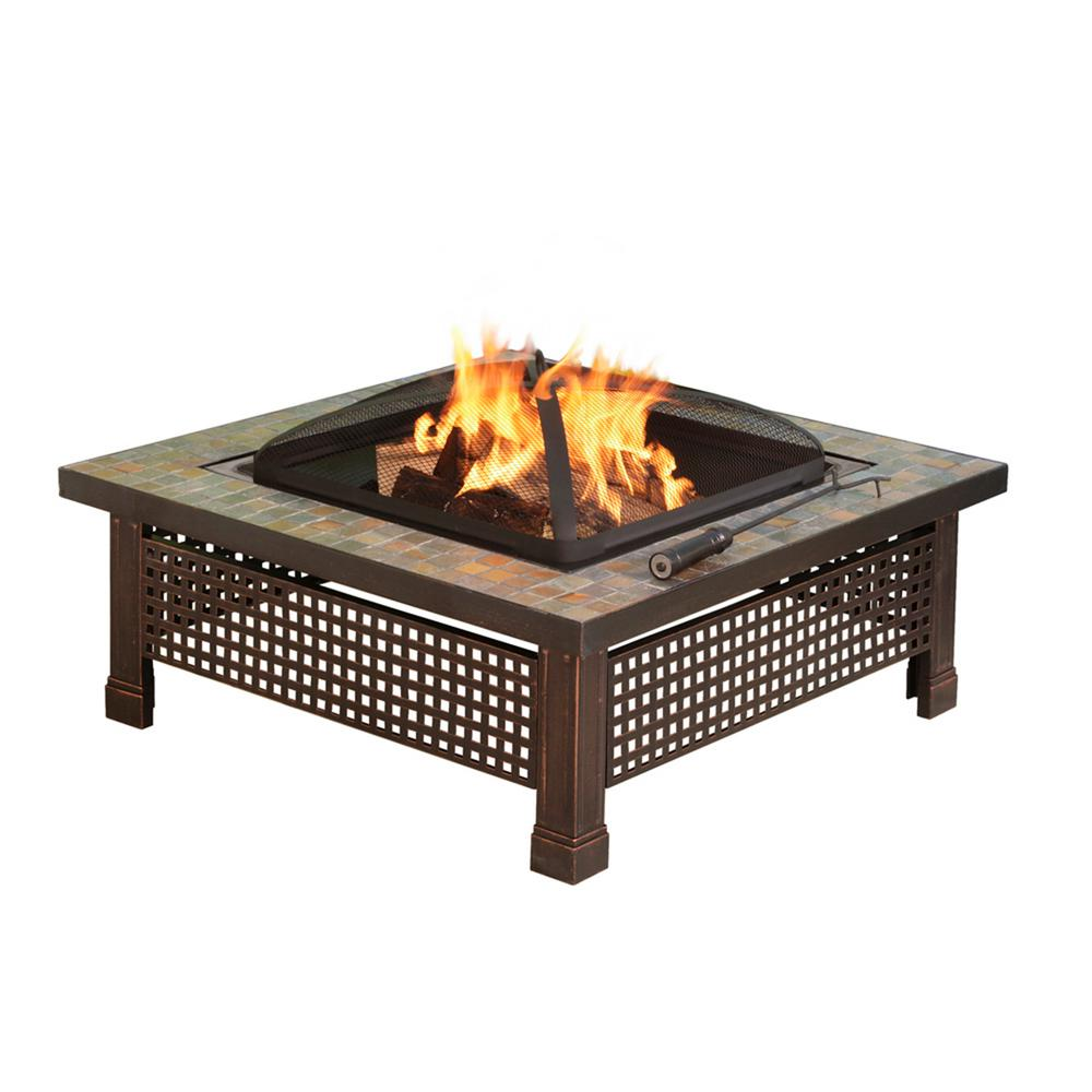 Square steel fire pit in mosaic slate outdoor wood cooking grid steel lid 34in