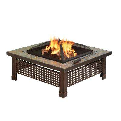 Bradford 34 in. x 19.69 in. Square Steel Wood Fire Pit in Slate