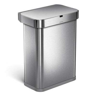 15.3 Gal. Stainless Steel Rectangular Sensor Trash Can with Voice and Motion Control