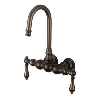 2-Handle Wall-Mount Vintage Gooseneck Claw Foot Tub Faucet with Lever Handles in Oil Rubbed Bronze
