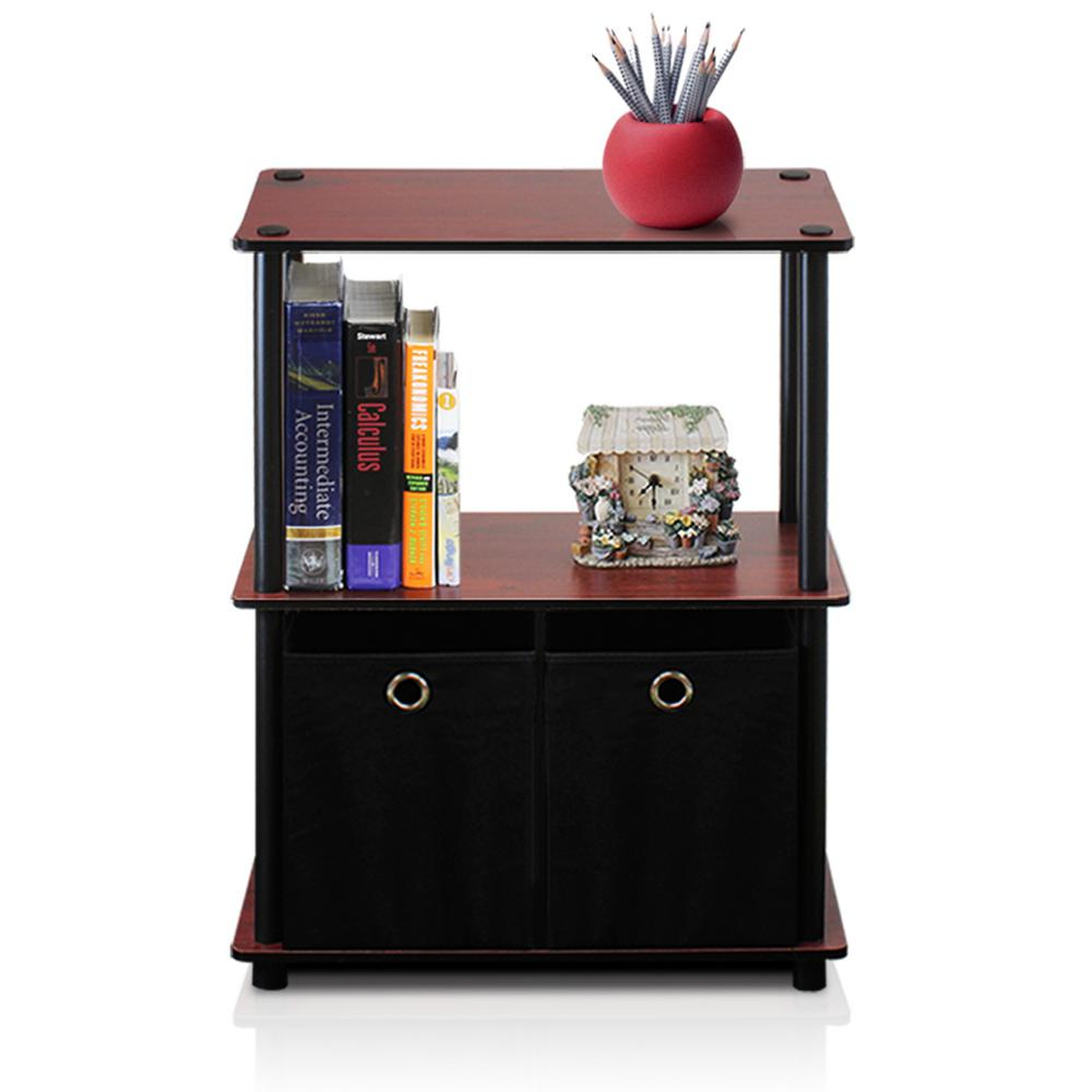 Go Green 3-Shelf Dark Cherry Open Bookcase with Bins