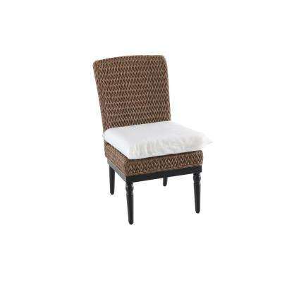 Camden Light Brown Wicker Outdoor Armless Dining Chair with Cushions Included, Choose Your Own Color (2-Pack)