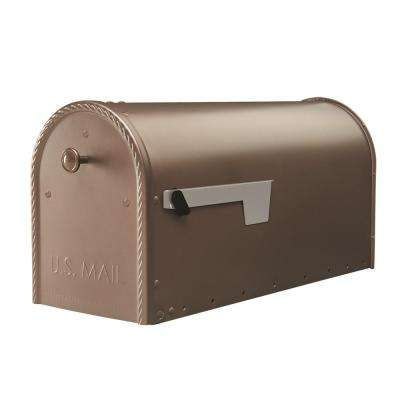 Edwards Venetian Bronze Steel Post-Mount Mailbox Large with Decorative Door