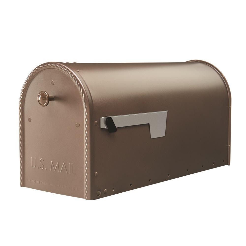 Edwards Venetian Bronze Steel Post-Mount Mailbox Large with Decorative Door